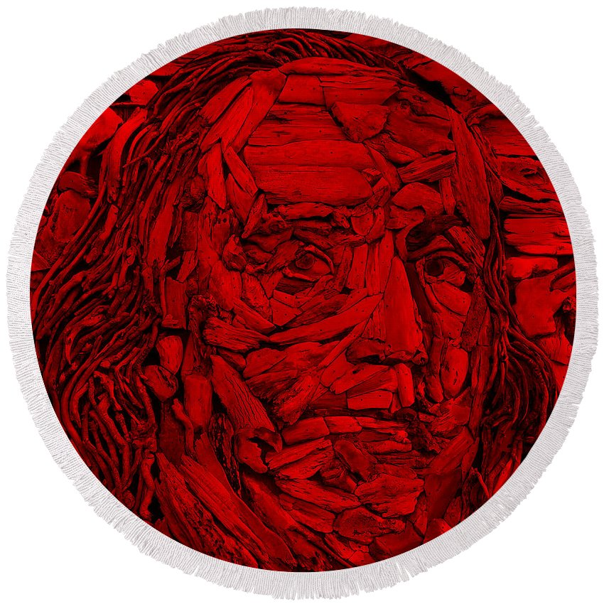 Ben Franklin Round Beach Towel featuring the photograph Ben In Wood Red by Rob Hans