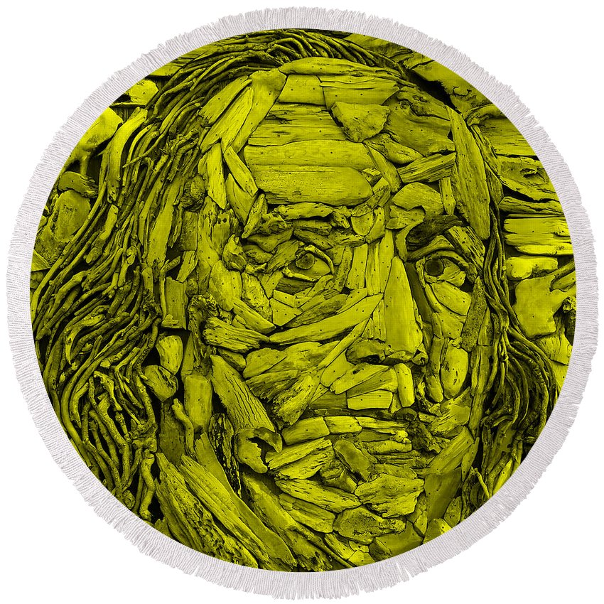 Ben Franklin Round Beach Towel featuring the photograph Ben In Wood Yellow by Rob Hans