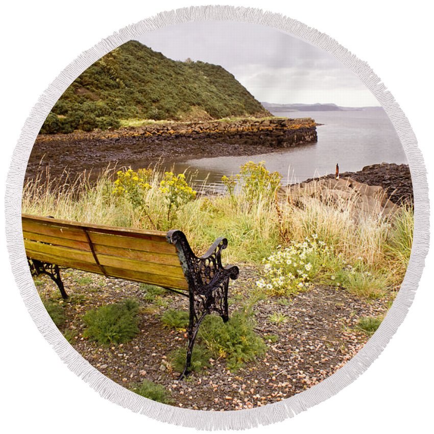 Bench Round Beach Towel featuring the photograph Bench At The Bay by Elena Perelman