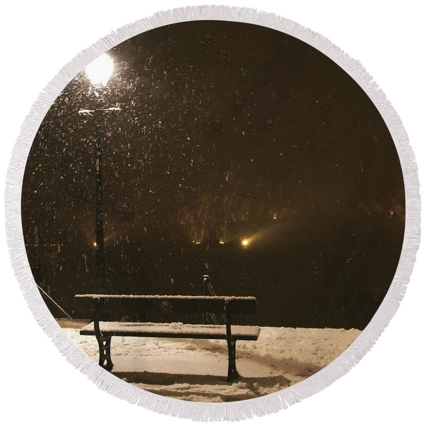 Bench Round Beach Towel featuring the photograph Bench For The Snowflakes by Elena Perelman