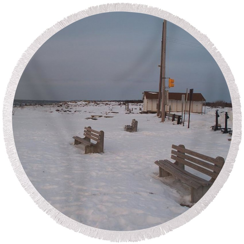 Benches Round Beach Towel featuring the photograph Benches At Sunset Beach Nj by Eric Schiabor
