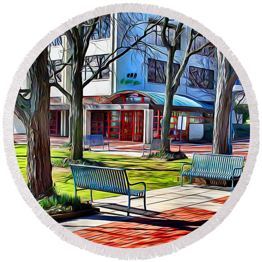 Howard County Round Beach Towel featuring the digital art Benches by Stephen Younts