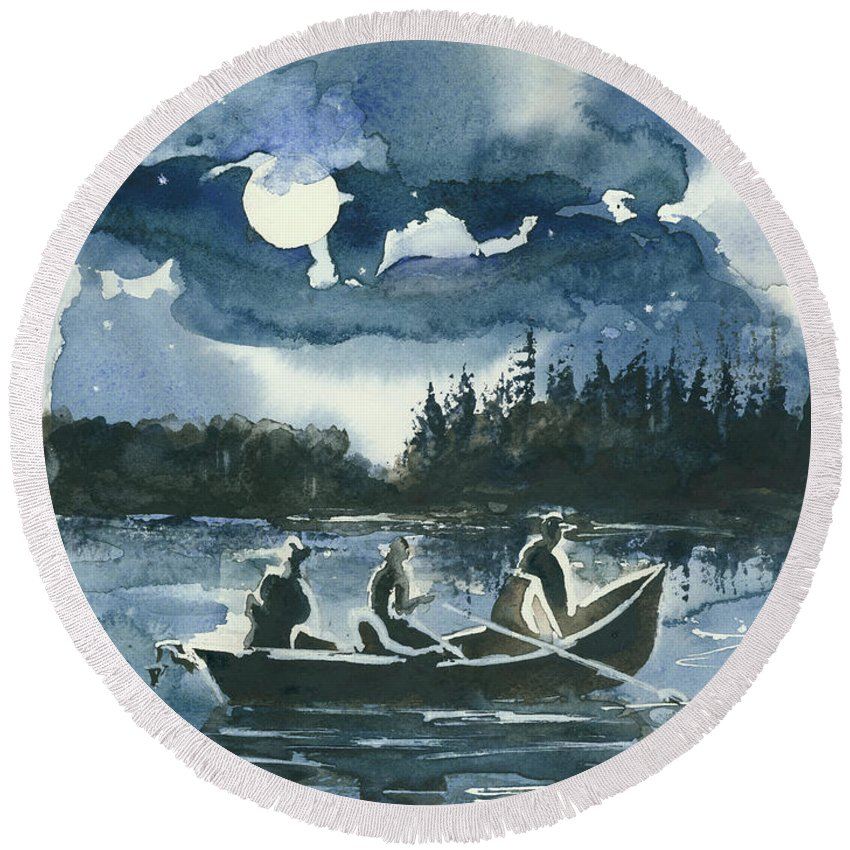 Watercolor Round Beach Towel featuring the painting Beneath The Stars by Elisabeta Hermann