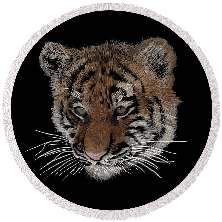 Bengal Tiger Round Beach Towel featuring the digital art Bengal Tiger Cub by Nathan Hoffmann