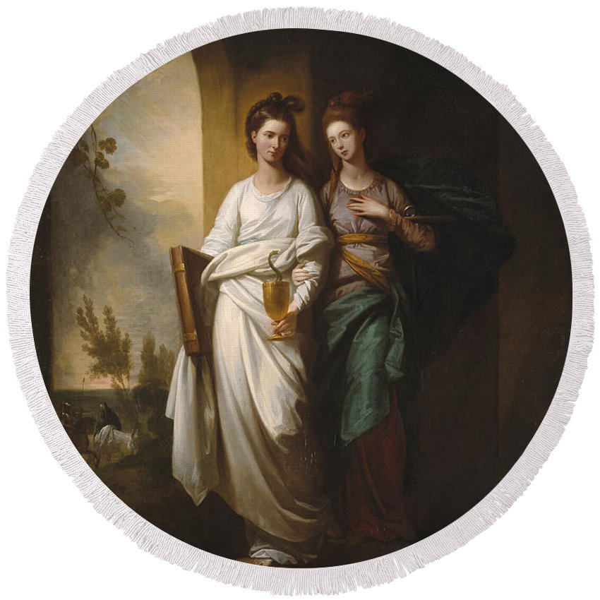 Benjamin West Round Beach Towel featuring the painting Benjamin West by Fidelia and Speranza