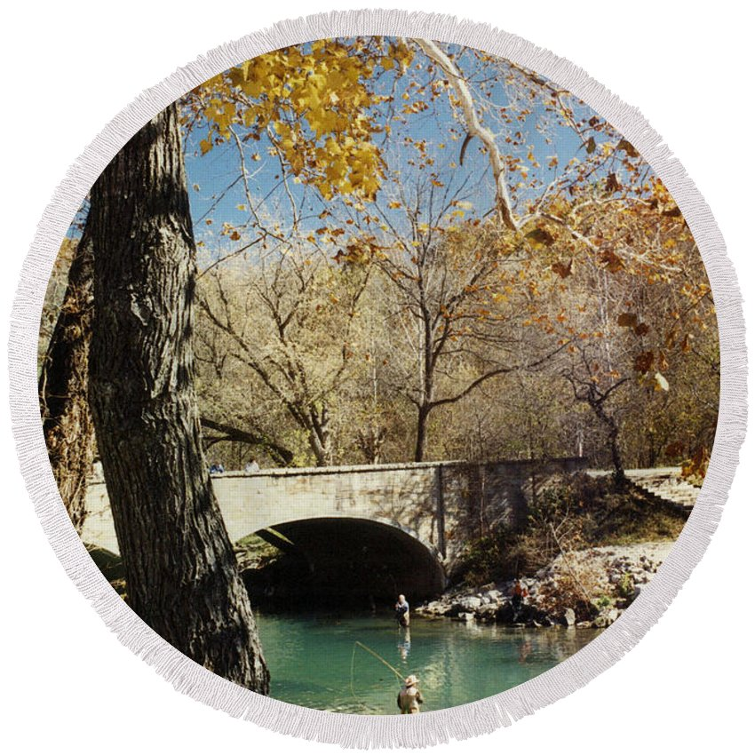 Landscape Round Beach Towel featuring the photograph Bennet Springs by Steve Karol