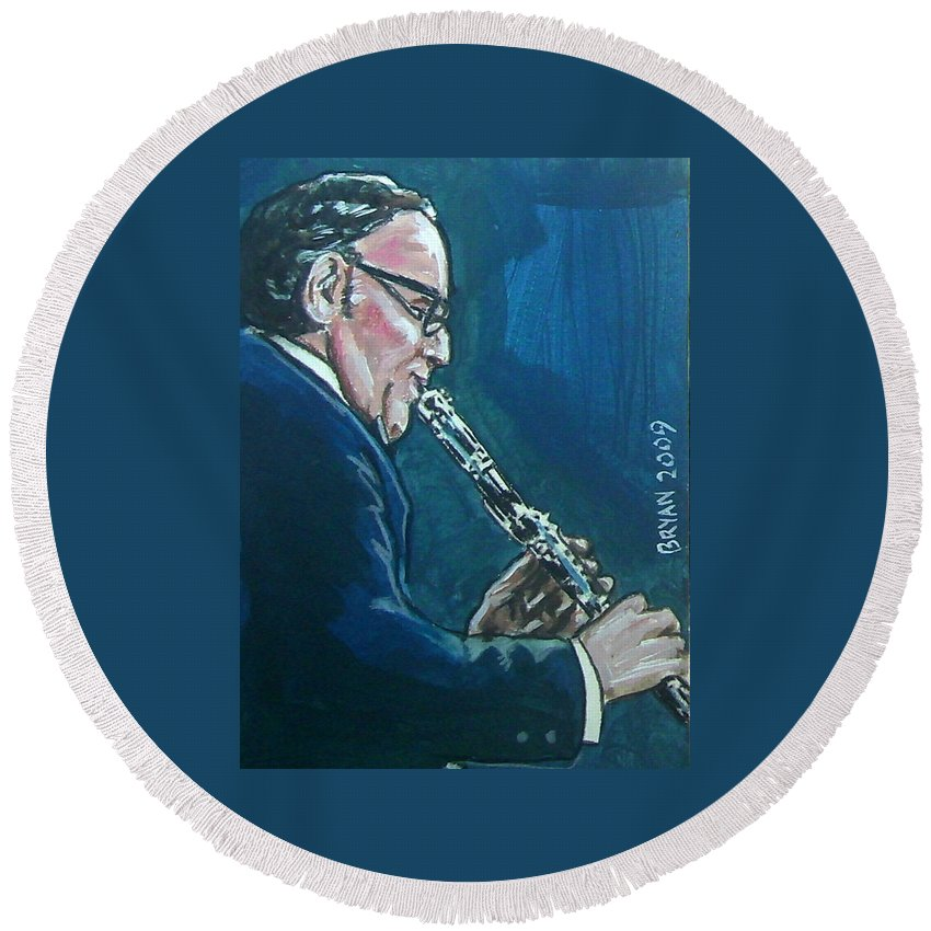 Benny Goodman Round Beach Towel featuring the painting Benny Goodman by Bryan Bustard