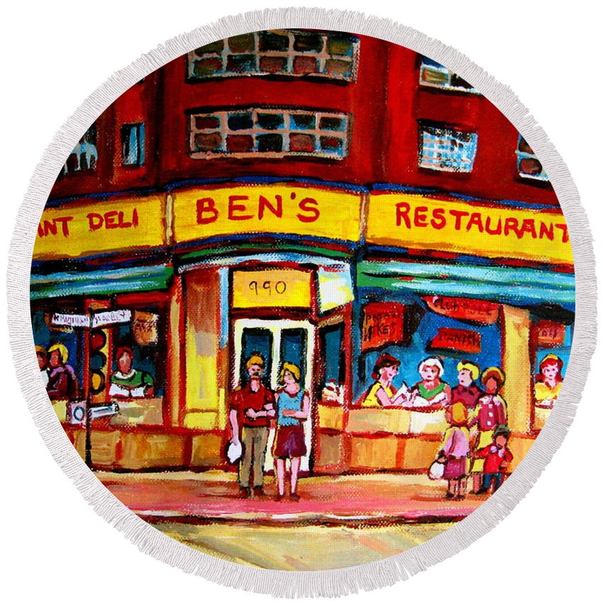 Bens Famous Restaurant Round Beach Towel featuring the painting Ben's Delicatessen - Montreal Memories - Montreal Landmarks - Montreal City Scene - Paintings by Carole Spandau