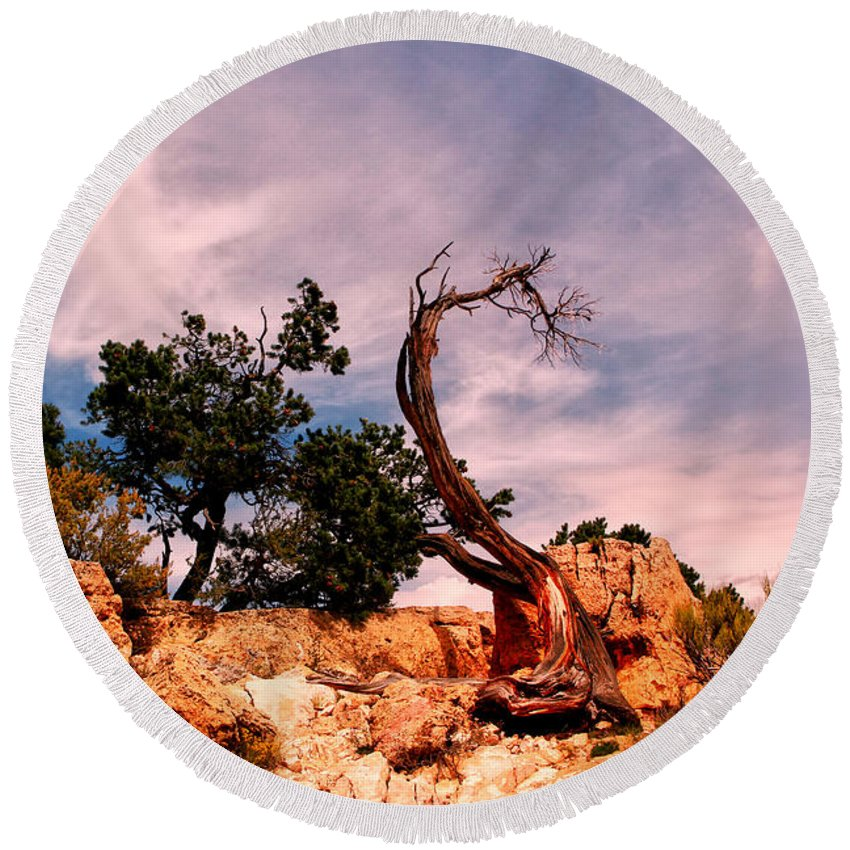 Arizona.the Grand Canyon Round Beach Towel featuring the photograph Bent The Grand Canyon by Tom Prendergast