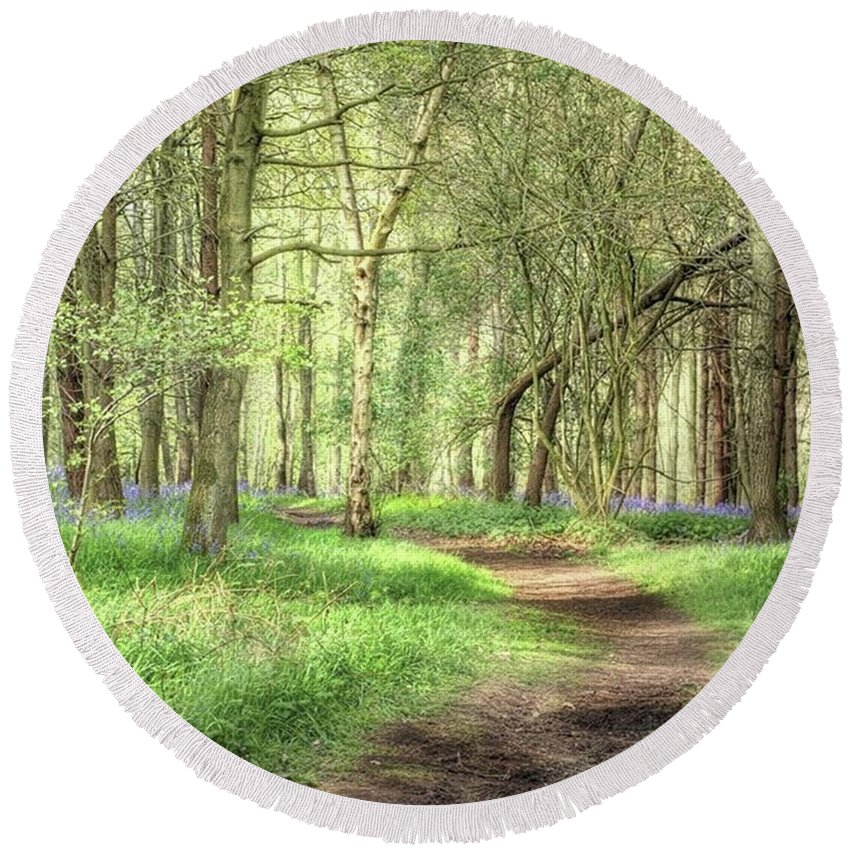 Nature Round Beach Towel featuring the photograph Bentley Woods, Warwickshire #landscape by John Edwards