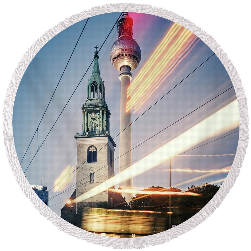 Berlin Round Beach Towel featuring the photograph Berlin - Karl-liebknecht-strasse by Alexander Voss