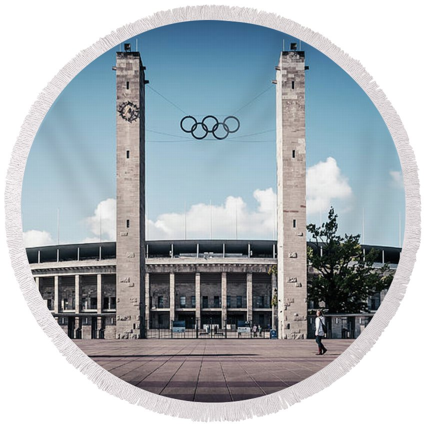 Berlin Round Beach Towel featuring the photograph Berlin - Olympic Stadium by Alexander Voss