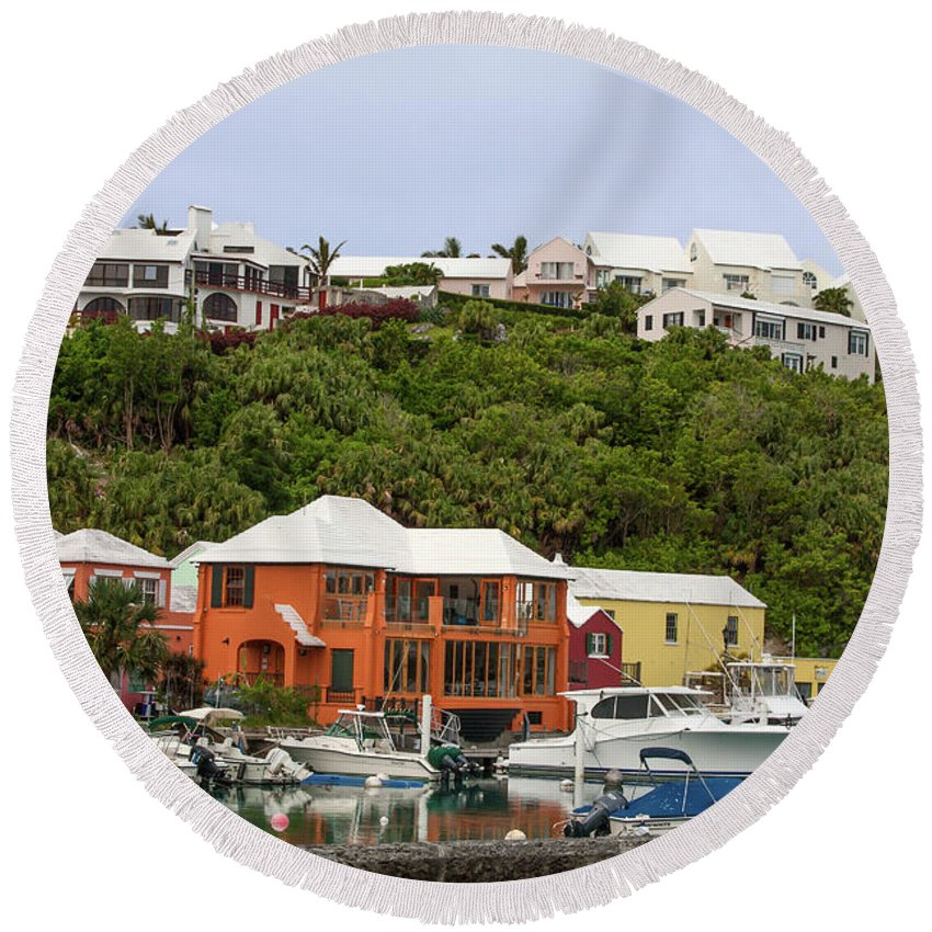 Waterside Scene Round Beach Towel featuring the photograph Bermuda Waterside Scene by Sally Weigand