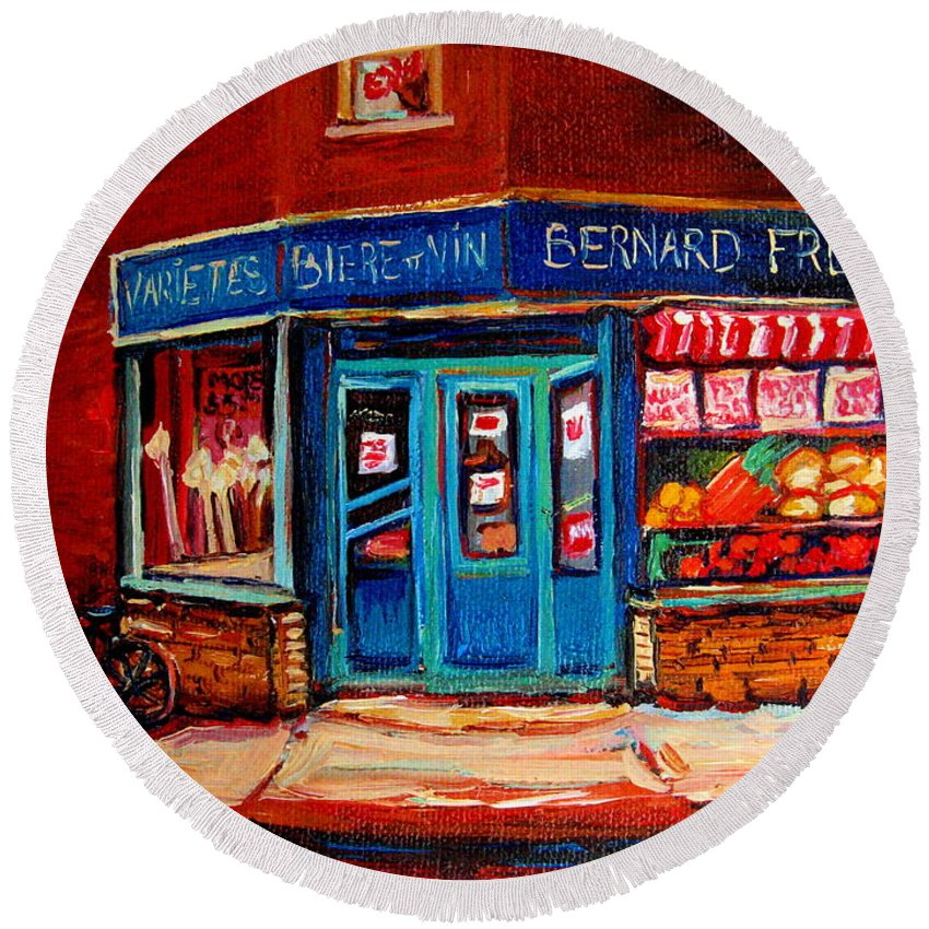 Bernard Fruit And Broomstore Round Beach Towel featuring the painting Bernard Fruit And Broomstore by Carole Spandau