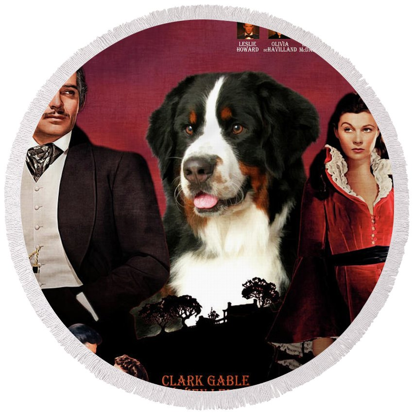 Bernese Mountain Dog Art Canvas Print - Gone To The Wind Movie Poster Round  Beach Towel