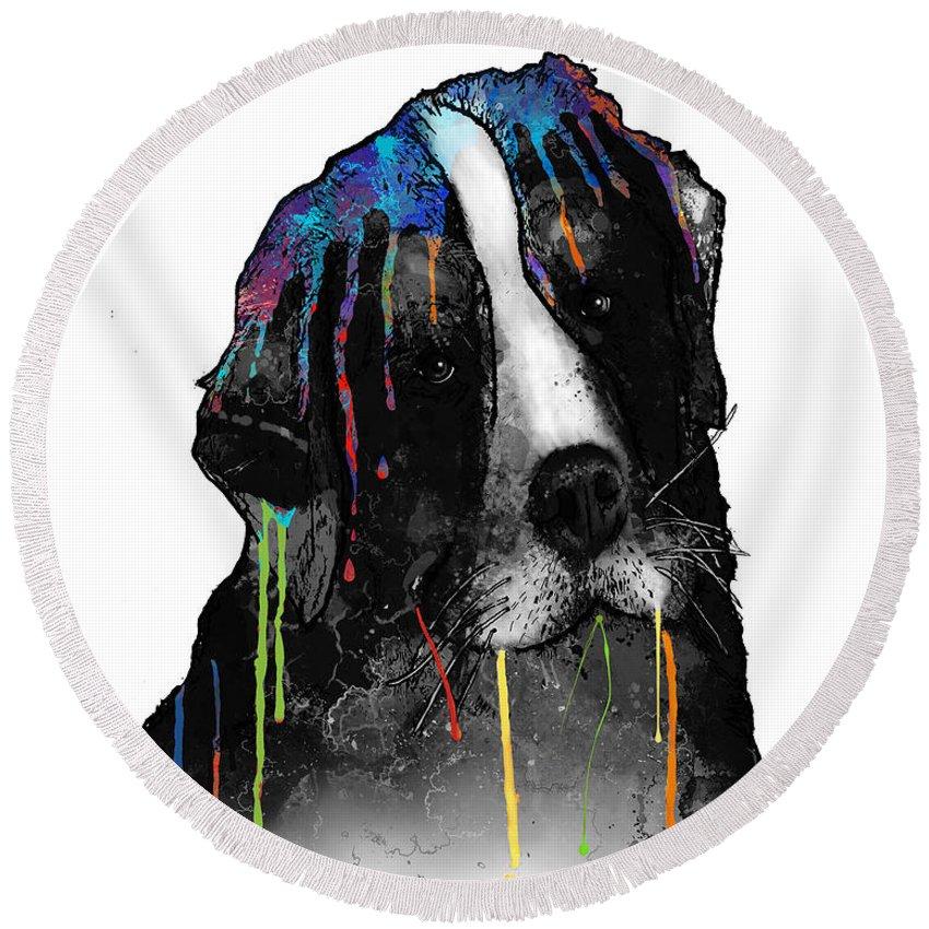 Bernese Mountain Dog Round Beach Towel featuring the digital art Bernese Mountain Dog by Marlene Watson