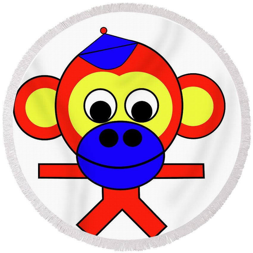 Bernhard The Monkey Round Beach Towel featuring the digital art Bernhard the Monkey by Asbjorn Lonvig