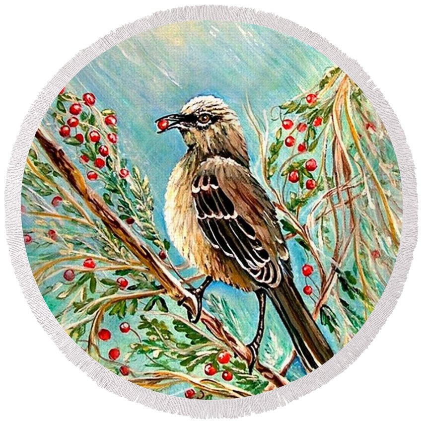 Mocking Bird Round Beach Towel featuring the painting Berry Picking Time by Carol Allen Anfinsen