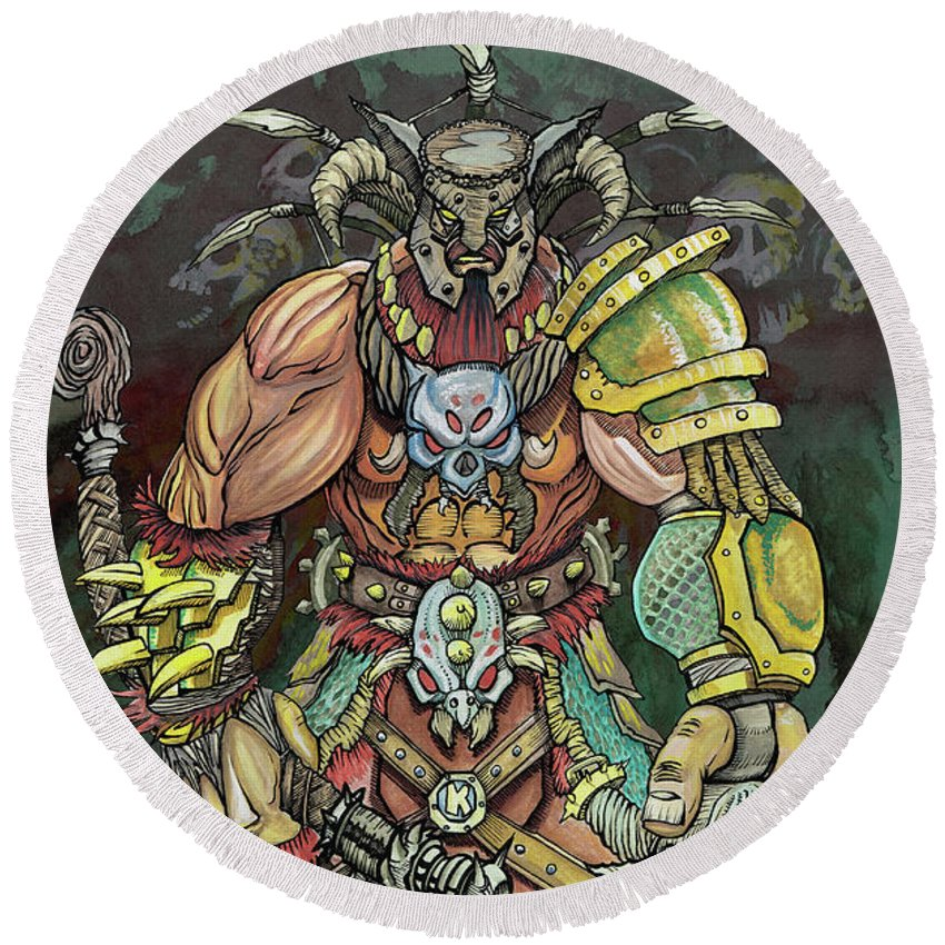 Watercolor Fantasy Pen Ink Bryan King Neo Round Beach Towel featuring the painting Berserker by Bryan King