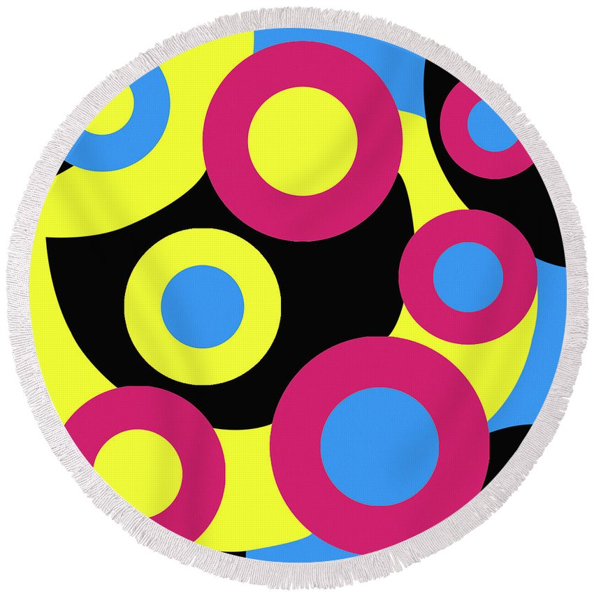 Surreal Round Beach Towel featuring the painting Bertie by Oliver Johnston