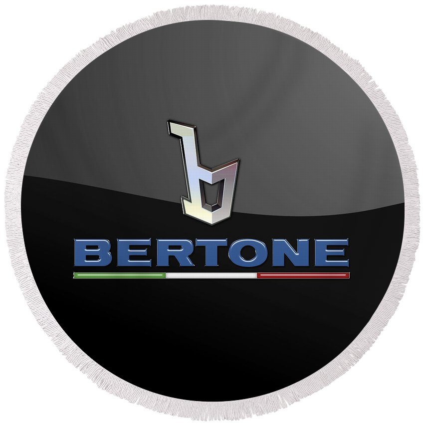 'auto Badges' Collection By Serge Averbukh Round Beach Towel featuring the photograph Bertone - 3 D Badge On Black by Serge Averbukh