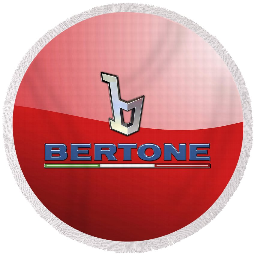 �wheels Of Fortune� Collection By Serge Averbukh Round Beach Towel featuring the photograph Bertone 3 D Badge on Red by Serge Averbukh