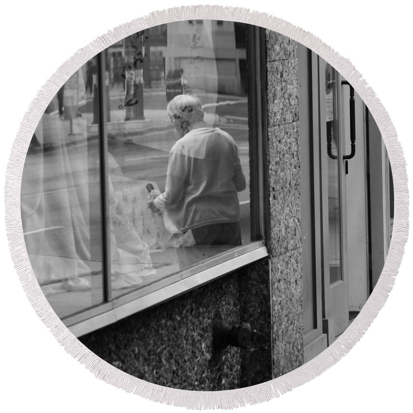 Street Photography Round Beach Towel featuring the photograph Beside The Cafe by The Artist Project