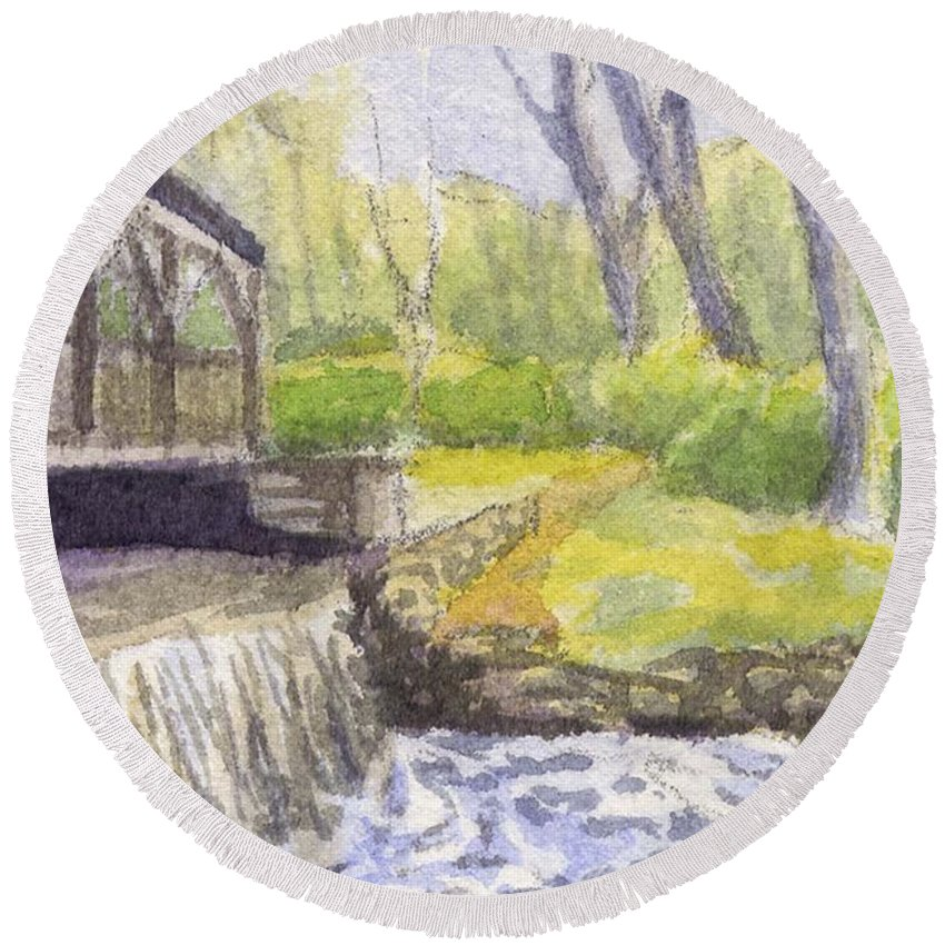 Moore State Park Round Beach Towel featuring the painting Beside The Dam by Sharon E Allen
