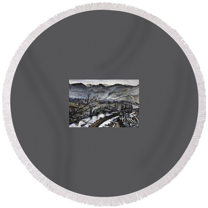 Landscape Round Beach Towel featuring the painting Beskydy Po Proudu Reky by Pablo de Choros