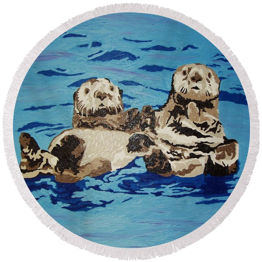 Sea Otters Round Beach Towel featuring the painting Best Friends by Amy Pugh