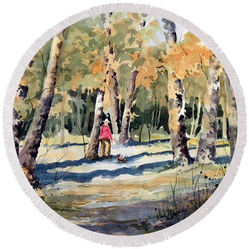 Dog Round Beach Towel featuring the painting Walking With A Friend by Sam Sidders