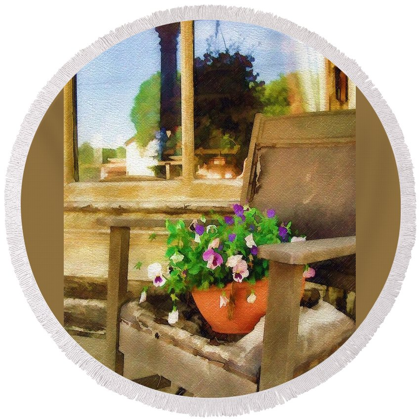 Pansies Round Beach Towel featuring the photograph Best Seat In The House by Sandy MacGowan