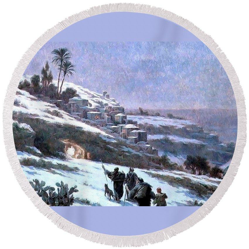 Bethlehem Round Beach Towel featuring the painting Bethlehem 1893 by Munir Alawi