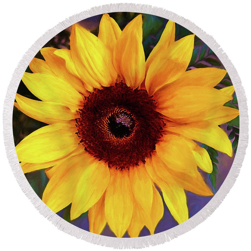 Flowers Round Beach Towel featuring the digital art Betsy's Sunflower by Casey Heisler