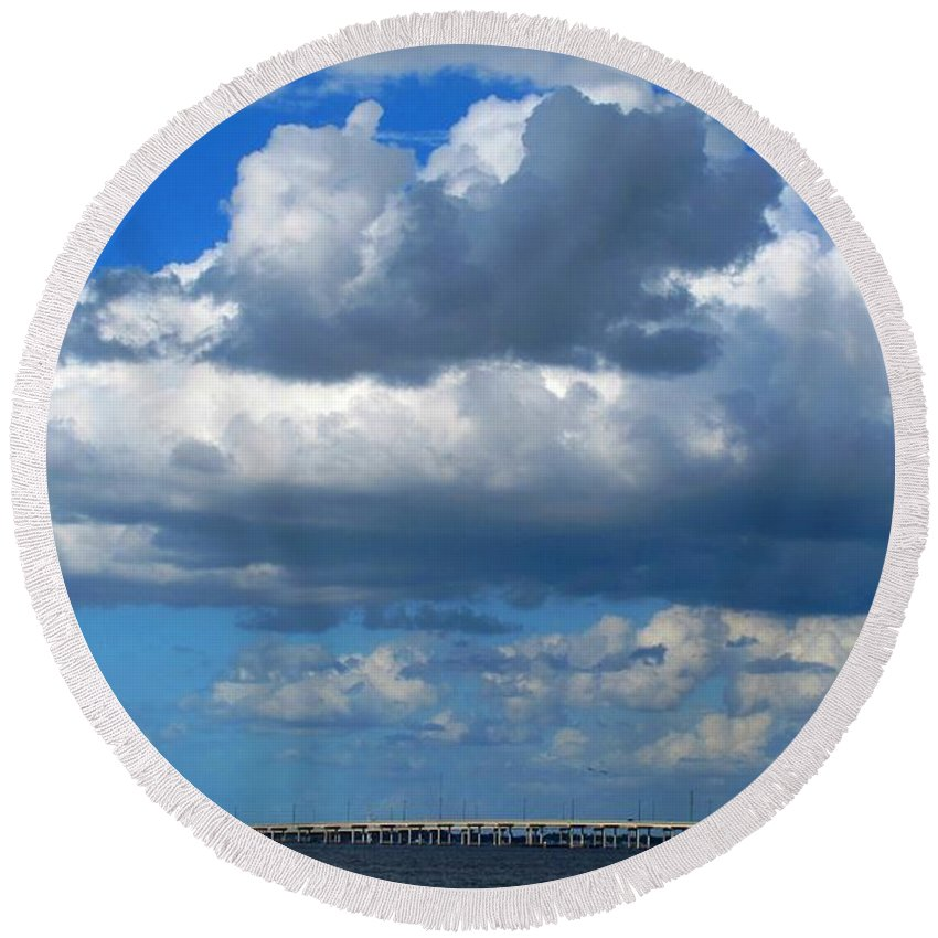 Punta Gorda Round Beach Towel featuring the photograph Between by Ian MacDonald