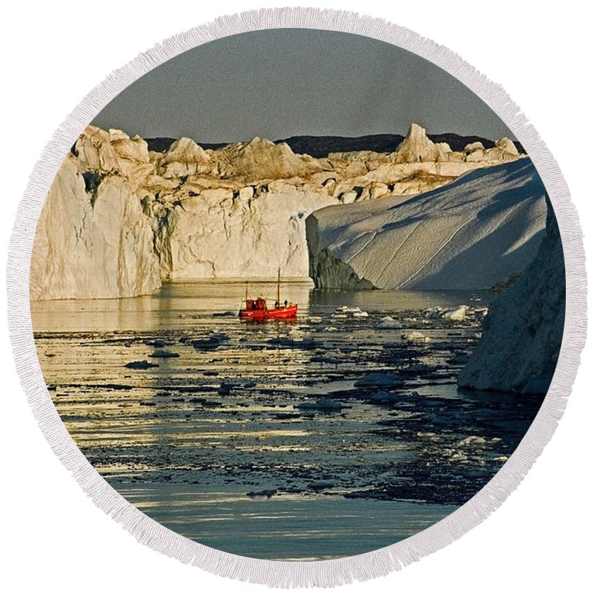 Greenland Round Beach Towel featuring the photograph Between Icebergs - Greenland by Juergen Weiss