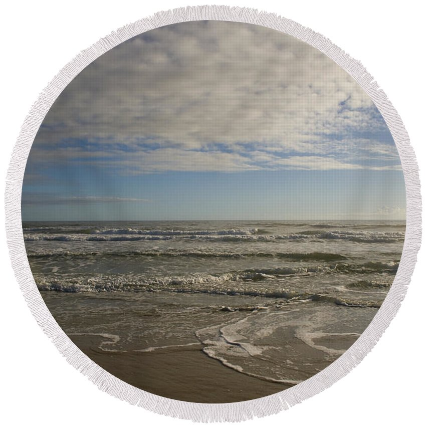 Wave Sand Ocean Beach Sky Water Wave Tide Sun Sunny Vacation Cloud Morning Early Round Beach Towel featuring the photograph Between Night And Day by Andrei Shliakhau