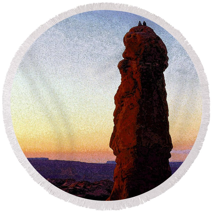 Art.artwork Round Beach Towel featuring the painting Between Rock And Sky by David Lee Thompson