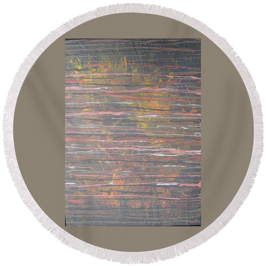 Lines Round Beach Towel featuring the painting Between The Lines by Jacqueline Athmann