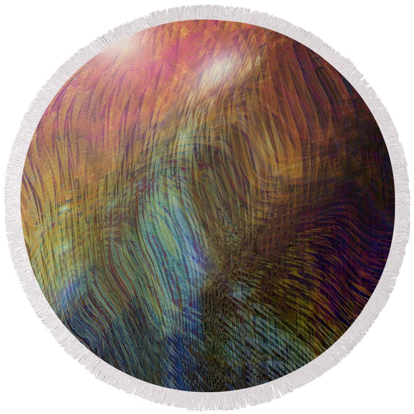 Abstract Art Round Beach Towel featuring the digital art Between The Lines by Linda Sannuti
