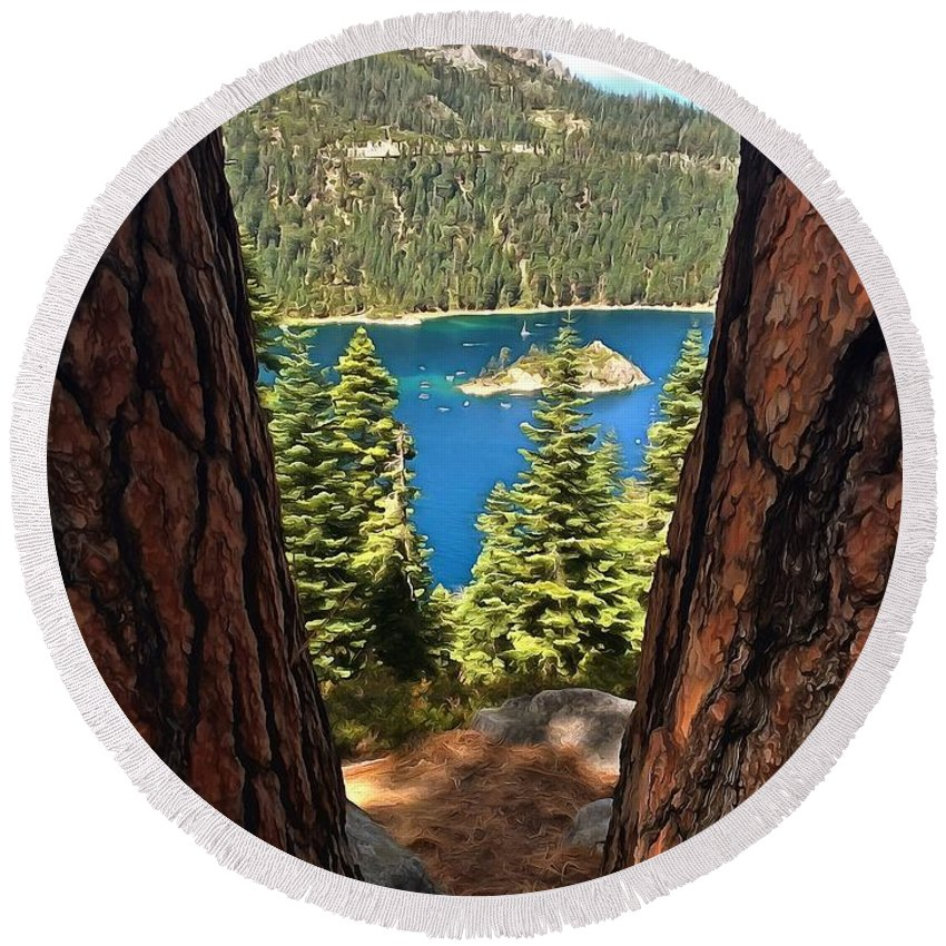 Lake Tahoe Round Beach Towel featuring the photograph Between The Pines by Krissy Katsimbras