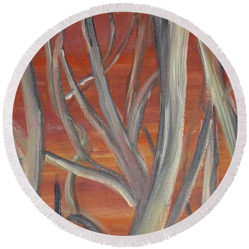 Trees Forest Original Painting Abstract Round Beach Towel featuring the painting Beyond by Leila Atkinson