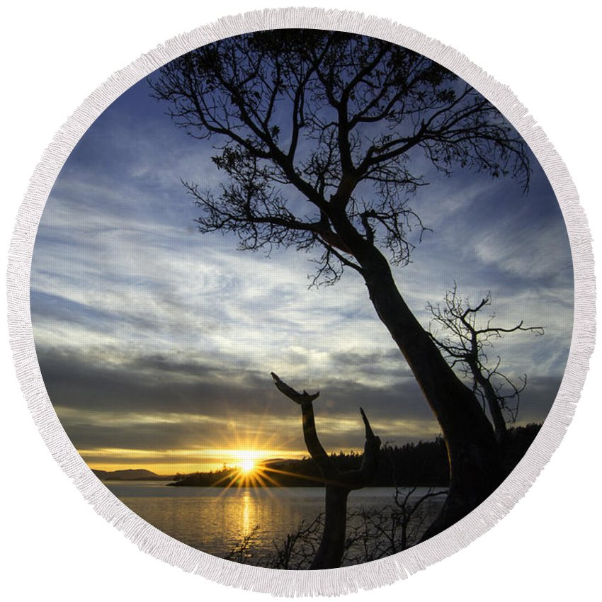 Bellingham Round Beach Towel featuring the photograph Beyond The Bay by Ryan McGinnis