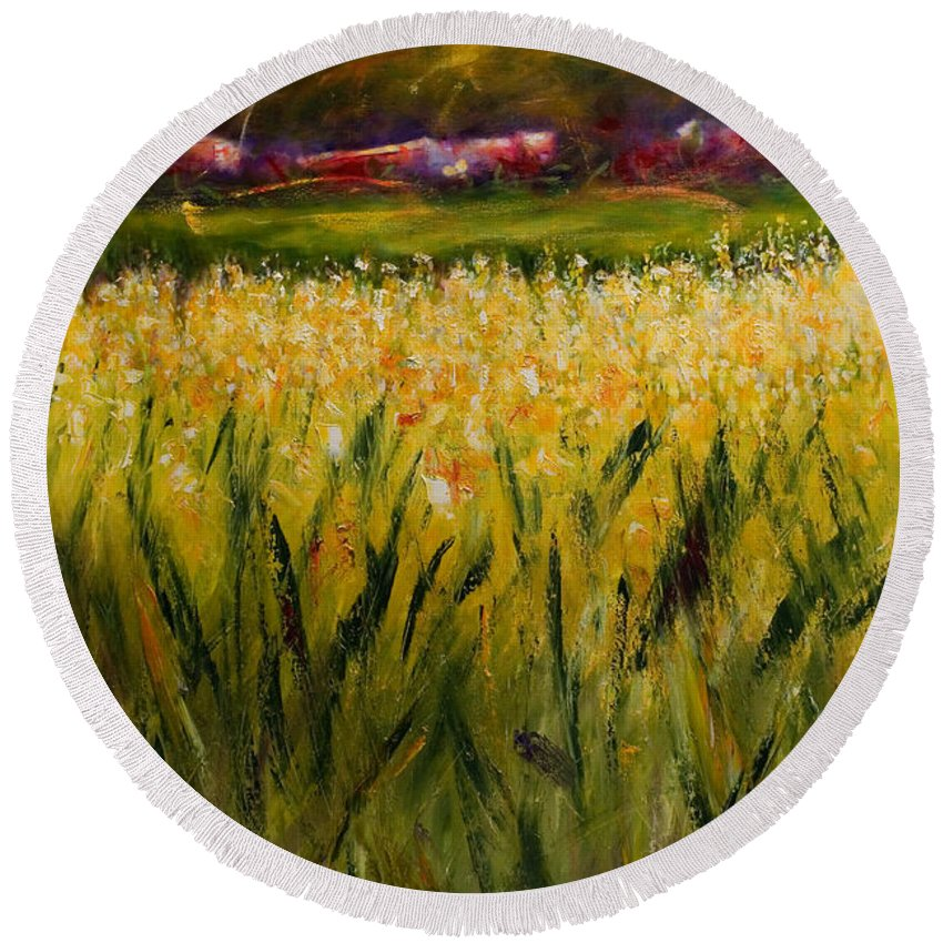 Landscape Round Beach Towel featuring the painting Beyond The Valley by Shannon Grissom