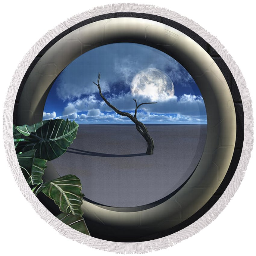 Walls Round Beach Towel featuring the digital art Beyond Walls by Richard Rizzo
