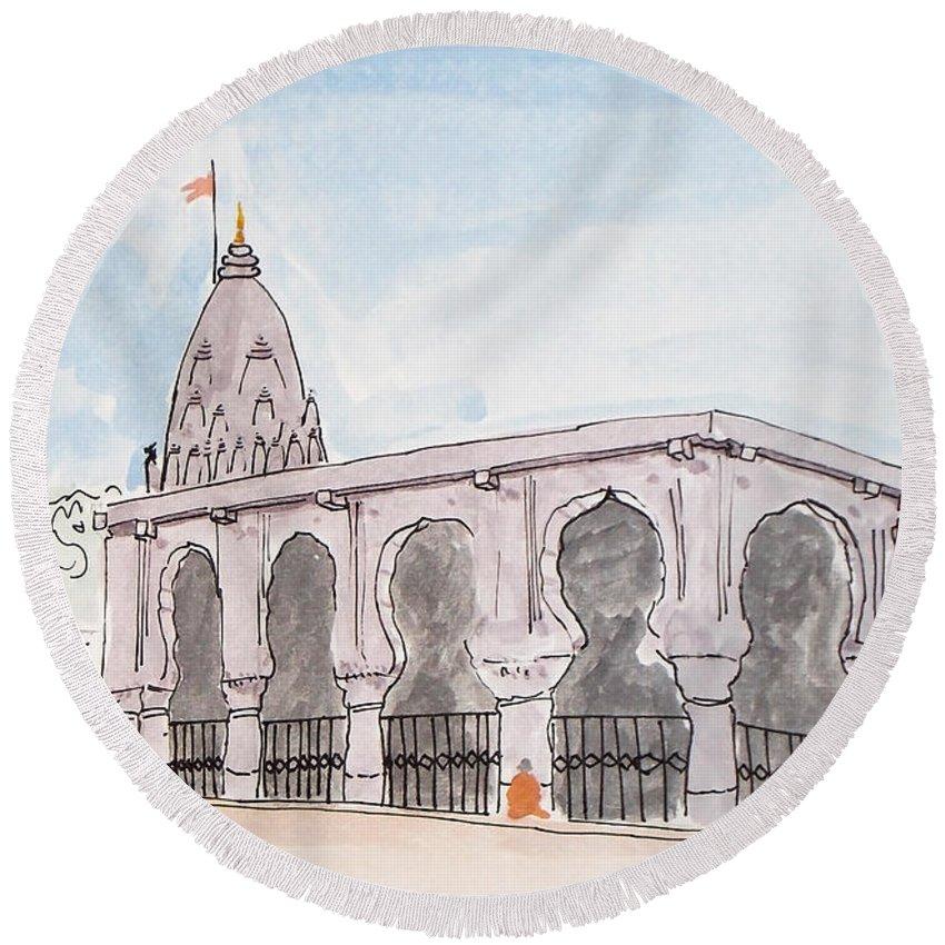 Bhimashankar Round Beach Towel featuring the painting Bhimashankar Jyotirling by Keshava Shukla