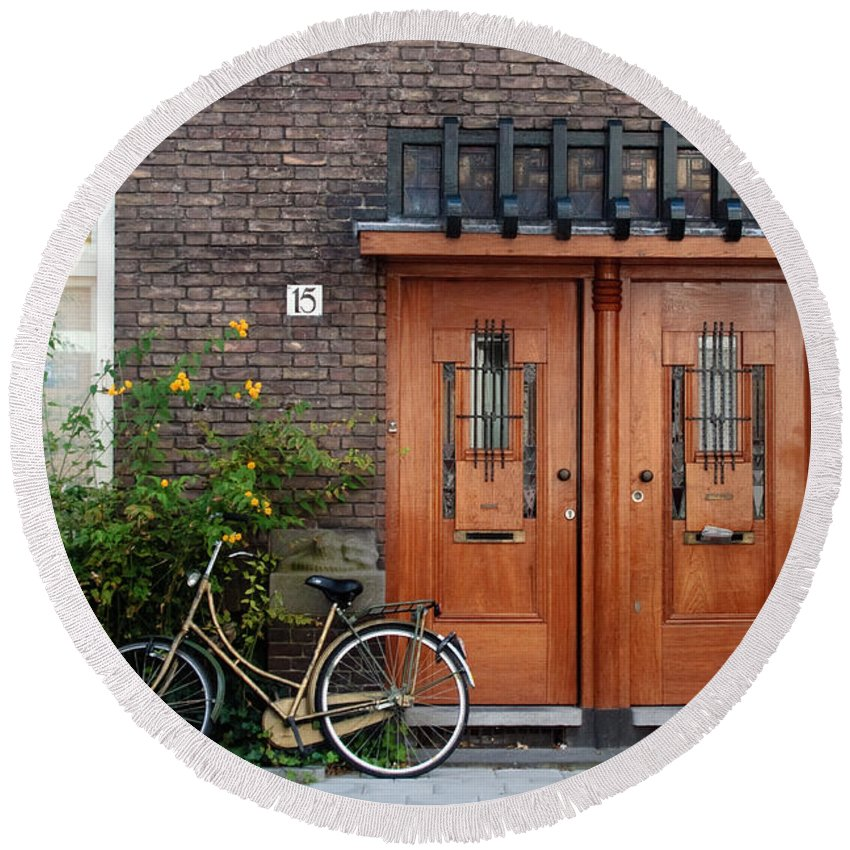 Bicycle Round Beach Towel featuring the photograph Bicycle And Wooden Door by Thomas Marchessault