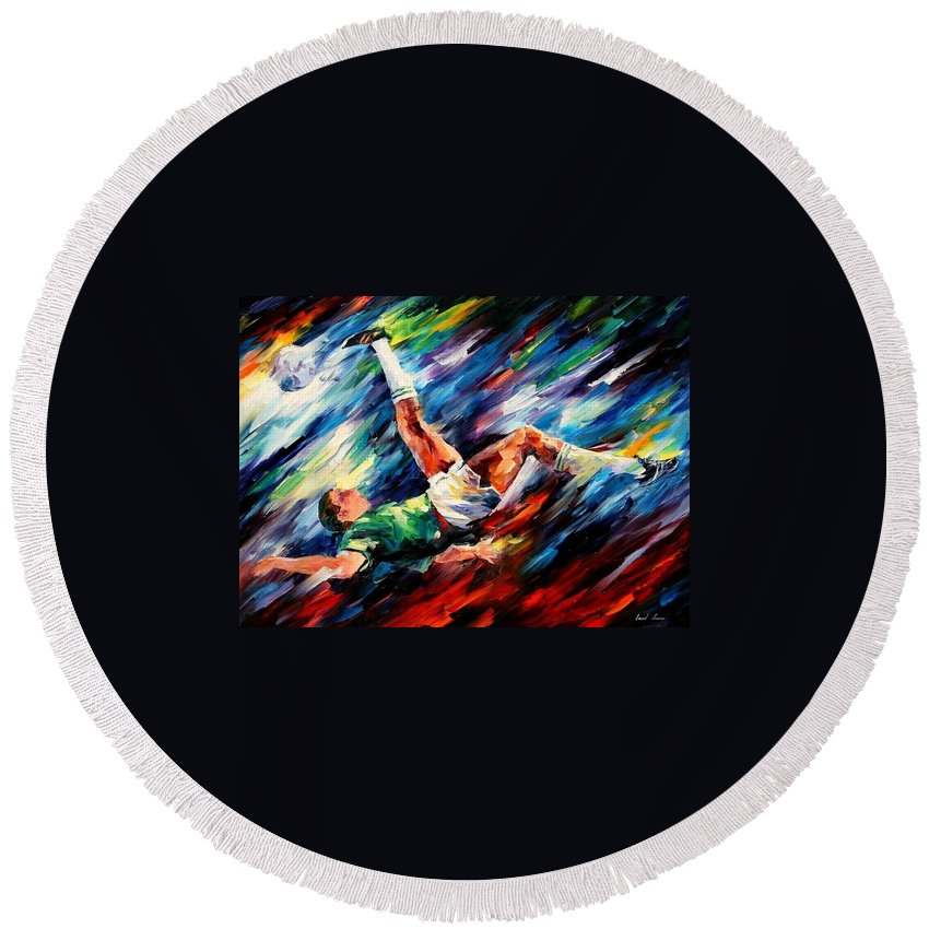 Afremov Round Beach Towel featuring the painting Bicycle Kick by Leonid Afremov