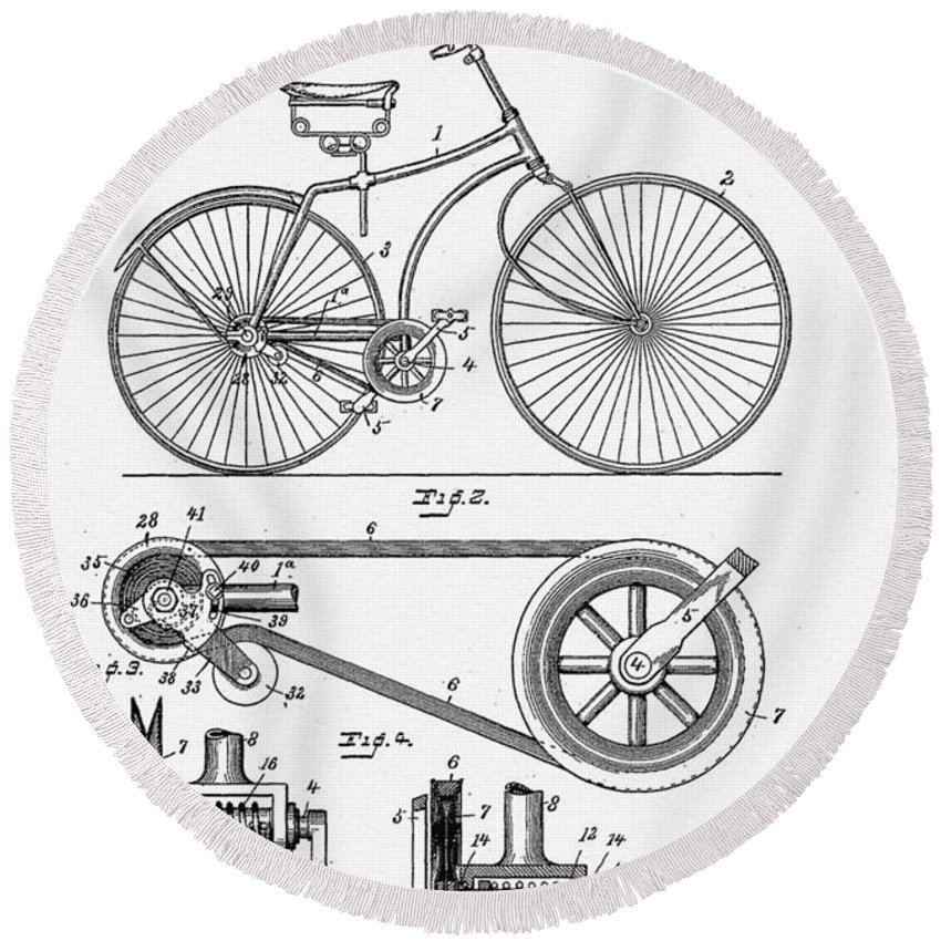 Bicycle Patent 1890 Round Beach Towel featuring the digital art Bicycle Patent 1890 by Bill Cannon
