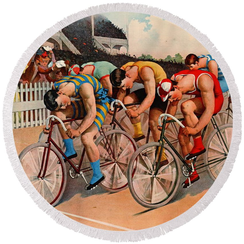 Bicycle Race 1895 Round Beach Towel featuring the photograph Bicycle Race 1895 by Padre Art